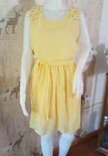 ❤️ schickes Damen Chiffonkleid Kleid festlich Gr. M gelb Perlen ❤️ Must-have
