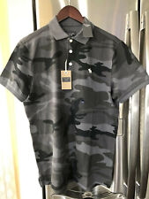 Abercrombie Men's Grey Camouflage Cotton Polo Shirt