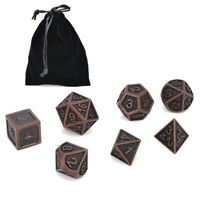 7x Copper Color Retro Metal Polyhedral Dice DND Role Playing Game Set With Bag