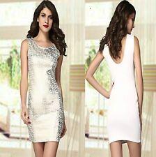 Sz 8 10 White Gold Sequin Sleeveless Bodycon Cocktail Party Club Mini Dress