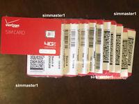 Lot of 5X Verizon Wireless 4g LTE Nano NFC SIM Cards for Samsung Galaxy S8, 9