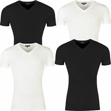 New Mens T Shirt Slim Fit V Neck Muscle Top Short Sleeve Plain Cotton Summer Gym