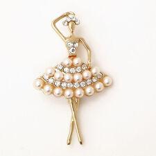 Pearl Dancing Ballet Girl Brooch Rhinestone Brooch Pin Wedding Bridal Accessory