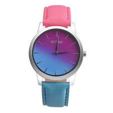 Fashion Lady Women Two Colour Rainbow Band Ladies Analog Quartz Wrist Watch Gift