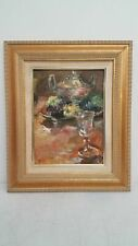 Signed Acrylic Still Life on Canvas Framed 18x15