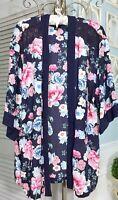 NEW ~ L Large Blue Pink Floral Lace Boho Open Jacket Duster Kimono Topper