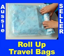 Travel Space Saver Saving Hand Roll Up Roller Seal No Vacuum Storage Bag Roll-up