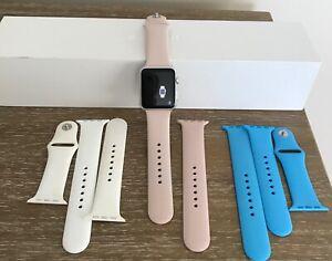 Apple Watch Sport 42mm Aluminum Case Sport Band Smart Watch 3 Bands Pink, Blue