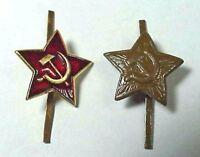 2 x Original Soviet Russian Army Soldiers' Uniform Military Cap Hat Badges USSR