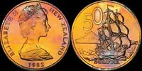 1982 NEW ZEALAND 50 CENTS COLOR TONED COIN IN HIGH GRADE !!!