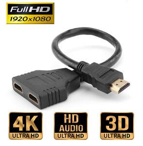 HDMI Verteiler Splitter Adapter 1 in 2 out Full HD 4k 1 Stecker auf 2 Buchse NEU