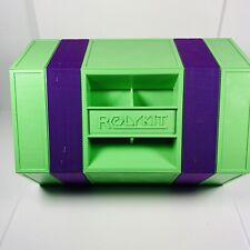 "Rolykit Green Purple 42"" Roll Up Storage Case Tackle Box Portable Crafting"
