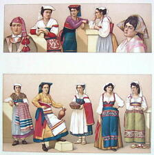 ITALY Women Peasants Costume near Rome - COLOR Litho Print by Racinet