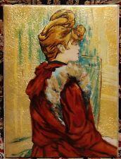"""Vintage Hand Painted Enamel on Copper Woman Portrait 6.5"""" x 5"""""""