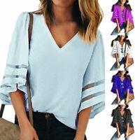 Women Fashion Elegant Flare Short Sleeve V Neck Chiffon Casual Blouses Shirt