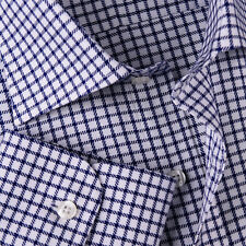 Navy Blue Double Plaid Formal Business Dress Shirt Mens Check Checkers Style Top