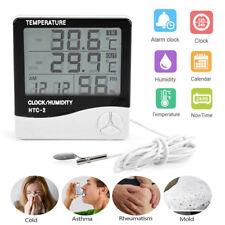 LCD Digital Innen Au�Ÿen Thermometer Hygrometer Au�Ÿenfühler Sensor Messer mit Uhr