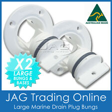 2 x AQUATRACK LARGE WHITE COMPLETE DRAIN BUNG PLUGS & BASES - BOAT BUNGS COARSE
