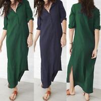 Women Ladies Long Sleeve V-Neck Baggy Cotton Linen Splits Maxi Dresses Plus Size