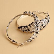 Latest Women's Attractive Bling Rhinestone Hoop Dangle Ear Studs Earrings
