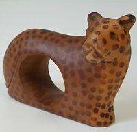 Vintage Wooden Cheetah Napkin Ring African Animal Mammal Tribal Decor