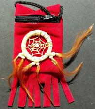 Red Velveteen Medicine Bag with Feathered Dream Catcher!