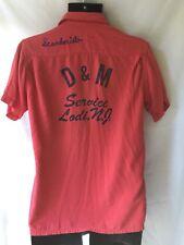 VINTAGE Bowling Shirt True 50s Antique Crown Prince D&M Service NJ Red Pink BLUE