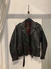 Stagg Vintage Leather Biker Jacket Size Small
