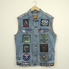Levi's Custom Punk Rock Patches Studded Denim Sleeveless Vest Battle Jacket M/L