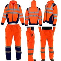 MEN'S HI VIS VIZ TROUSERS SAFETY WORK WEAR JOGGING BOTTOM PANTS HOODIE TOP