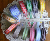 Woven Check Ribbon 10mm Wide 5 Metre Lengths 13 Colour with White Choice H11