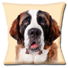 "ADULT ST. BERNARD DOG CLOSE UP HEAD PHOTOPRINT ON CREAM 16"" Pillow Cushion Cover"