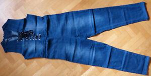 sexy Damen Jumpsuit Overall Jeans blau Größe XXL Zierschnürung vorn