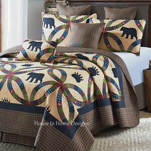WEDDING RING BLACK BEAR PAW 3pc Full Queen QUILT SET : CABIN BEIGE PLAID COUNTRY