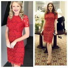 RARE KAREN MILLEN FLORAL EMBROIDERED LACE DRESS SIZE 10 8 RED WEDDING ASCOT RACE