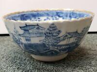 Early 20th Century Japanese Arita Blue and White Porcelain Village Motif Bowl