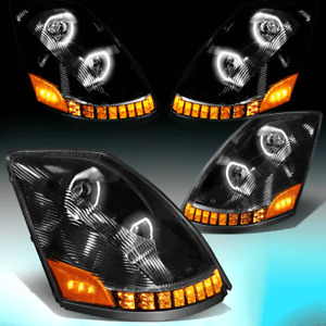 FOR 2004-2018 VOLVO VNM VNL LED DRL+ SEQUENTIAL SIGNAL PROJECTOR HEADLIGHT LAMP