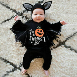 Newborn Baby Boys Girls Halloween Cosplay Costume Romper Jumpsuits+Hats Outfits