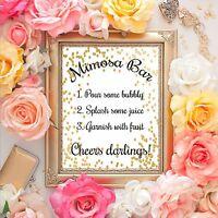 Mimosa Bar - Wedding Sign - Bridal Shower Sign - 5x7 print
