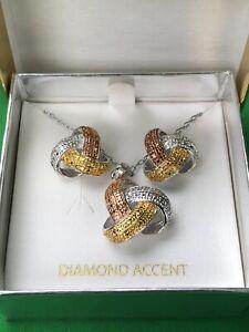 PRIME ART & JEWEL Bronze w/ Rhodium Plated Diamond Accent Pendant & Earrings NEW