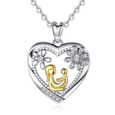 Mom Child Heart Necklace 925 Sterling Silver Fashion Mothers Day Jewelry Gifts.