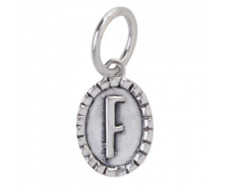 """Waxing Poetic Letter """"F"""" Imprinted Oval Insignia Silver Charm 0286"""