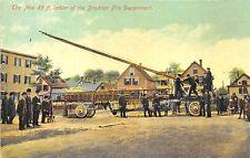 Brockton MA Fire Department New 85' Ladder, Firemen Postcard