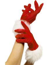 Red Velvet White Fur Gloves Miss Santa Sexy Elf Ladies Christmas Fancy Dress