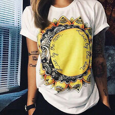 Cold Shoulder Top for Women Cut Out Sun Flower Print T-Shirt Casual Cute Pullover Basic Tunic Tee Shirt