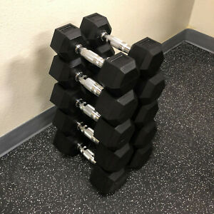 Fitness Rubber Coated Encased Hex Dumbbell Hand Weight Set Avail 5-50 lbs Pair