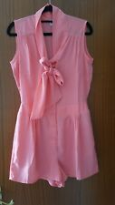 NEW Womens ASOS Pink Sleeveless Playsuit with Pussybow - Size UK10