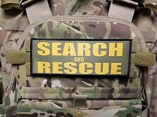 "3x8"" SEARCH AND RESCUE OD Green Gold Tactical Hook Plate Carrier Morale Patch"