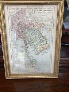 Framed Vintage Map Of Burma & Siam