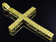 Yellow Gold Finish Genuine Yellow Canary Diamond Fanook Cross Pendant 0.50 Ct
